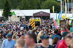 © Licensed to London News Pictures. 25/07/2017. Llanelwedd, Powys, Wales, UK. Crowded on the second day of the Royal Welsh Show. The Royal Welsh Agricultural Show is hailed as the largest & most prestigious event of its kind in Europe. In excess of 200,000 visitors are expected this week over the four day show period. The first ever show was at Aberystwyth in 1904 and attracted 442 livestock entries. Photo credit: Graham M. Lawrence/LNP