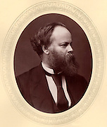 Samuel Plimsoll (1824-1898) English politician and social reformer born at Bristol, called the sailor's friend. Campaigned against 'coffin ships', overloaded, unseaworthy vessles, often over insured. In 1876 the  Merchant Shipping Act was passed by Parliament forcing all British registered ships to be marked with a line, the Plimsoll Line, marking its maximum loading.  From 'Men of Mark'  by Thompson Cooper (London, c1880). Woodburytype after photograph by Lock & Whitfield (active 1860s-1880s), English photographers.
