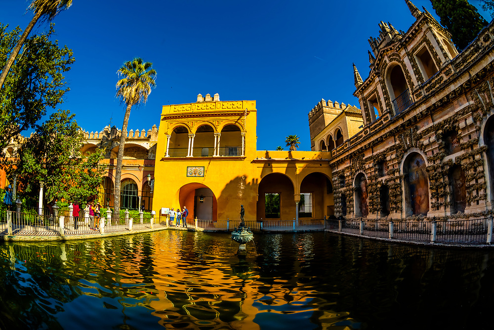 Gardens of The Alcázar of Seville (Real Alcazar) is a royal palace in Seville, Spain, built for the Christian king Peter of Castile.