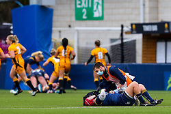 Carys Phillips of Worcester Warriors Women receives attention - Mandatory by-line: Nick Browning/JMP - 24/10/2020 - RUGBY - Sixways Stadium - Worcester, England - Worcester Warriors Women v Wasps FC Ladies - Allianz Premier 15s