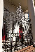 A historic ironwork gate at the St John's Lutheran Church in Charleston, South Carolina.