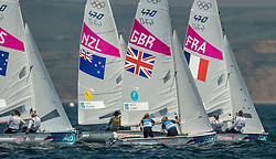 10.08.2012, Bucht von Weymouth, GBR, Olympia 2012, Segeln, im Bild Aleh Jo, Powrie Olivia, (NZL, 470 Women).Clark Saskia, Mills Hannah, (GBR, 470 Women) // during Sailing, at the 2012 Summer Olympics at Bay of Weymouth, United Kingdom on 2012/08/10. EXPA Pictures © 2012, PhotoCredit: EXPA/ Daniel Forster ***** ATTENTION for AUT, CRO, GER, FIN, NOR, NED, .POL, SLO and SWE ONLY!