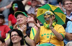06.07.2011, Commerzbank-Arena, Frankfurt, GER, FIFA Women Worldcup 2011, Gruppe D, Äquatorial-Guinea (EQG) vs. Brasilien (BRA) ,. im Bild brasilianische Fans . // during the FIFA Women´s Worldcup 2011, Pool D, Equatorial Guinea vs Brazil on 2011/07/06, Commerzbank-Arena, Frankfurt, Germany. EXPA Pictures © 2011, PhotoCredit: EXPA/ nph/  Karina Hessland       ****** out of GER / CRO  / BEL ******