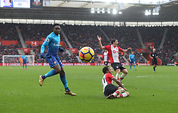 10 December 2017 Southampton : Premier League Football : Southampton v Arsenal : Danny Welbeck of Arsenal keeps his eye on the ball as it is deflected for a corner kick, at St Marys Stadium.<br /> (photo by Mark Leech)