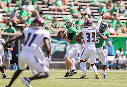 Sep 5, 2020; Huntington, West Virginia, USA; Marshall Thundering Herd quarterback Grant Wells (8) drops back to pass during the first quarter against the Eastern Kentucky Colonels at Joan C. Edwards Stadium. Mandatory Credit: Ben Queen-USA TODAY Sports