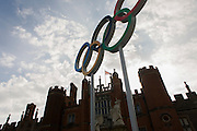 The Olympic rings stand at the entrance of King Henry the Eighth's Hampton Court Palace on the first day of competition of the London 2012 Olympic 250km mens' road race. This is the location for the cycling time trials plus the mans' and womens' road races that pass by the bottom of the palace's drive.