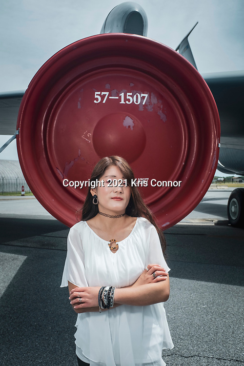 Molly Hastings poses during a portrait session at the Air Mobility Command Museum in Dover, Deleware on May 16th, 2021. Photo by Kris Connor