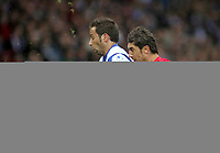 Photo: Paul Thomas.<br /> Espanyol v Sevilla. UEFA Cup Final. 16/05/2007.<br /> <br /> Raul Tamudo (L) battles with Ivica Dragutinovic of Sevilla.