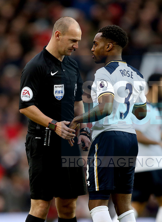 Referee Robert Madley has words with Danny Rose of Tottenham early in the game during the English Premier League match at Old Trafford Stadium, Manchester. Picture date: December 11th, 2016. Pic Simon Bellis/Sportimage