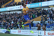 CJ Hamilton of Mansfield Town (22) celebrates scoring a goal during the The FA Cup match between Mansfield Town and Charlton Athletic at the One Call Stadium, Mansfield, England on 11 November 2018.