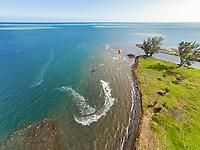Aerial view of a kitesurfer at Papara, Tahiti, French Polynesia