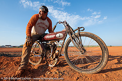 Billy Lane racing an old Indian Motorcycle on the Sons of Speed banked oval track at the Full Throttle Saloon during the Sturgis Black Hills Motorcycle Rally. Sturgis, SD, USA. Tuesday, August 6, 2019. Photography ©2019 Michael Lichter.