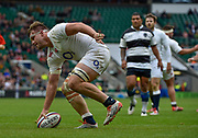 England flanker Jack Clifford (Harlequins) runs in to score a try during the International Rugby Union match England XV -V- Barbarians at Twickenham Stadium, London, Greater London, England on May  31  2015. (Steve Flynn/Image of Sport)