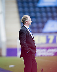 Cowdenbeath's manager Jimmy Nicholl after the Falkirk's fifth goal.<br /> Falkirk 6 v 0 Cowdenbeath, Scottish Championship game played at The Falkirk Stadium, 25/10/2014.