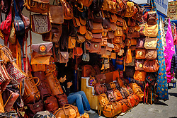 A stall selling leather goods in the narrow streets of the medina, Essaouira, Morocco<br /> <br /> (c) Andrew Wilson | Edinburgh Elite media