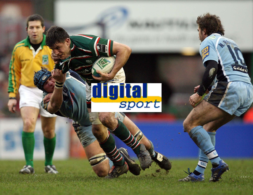 Photo: Rich Eaton.<br /> <br /> Leicester Tigers v Cardiff Blues. Heineken Cup. 13/01/2007. Martin Corry of Leicester fends off the Cardiff defence
