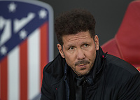 Football - 2017 / 2018 UEFA Europa League - Semi-Final, First Leg: Arsenal vs. Atletico Madrid<br /> <br /> Diego Simeone, Manager of Atletico Madrid, takes his seat before the match and was later sent to the stands for his protesting at The Emirates.<br /> <br /> COLORSPORT/DANIEL BEARHAM