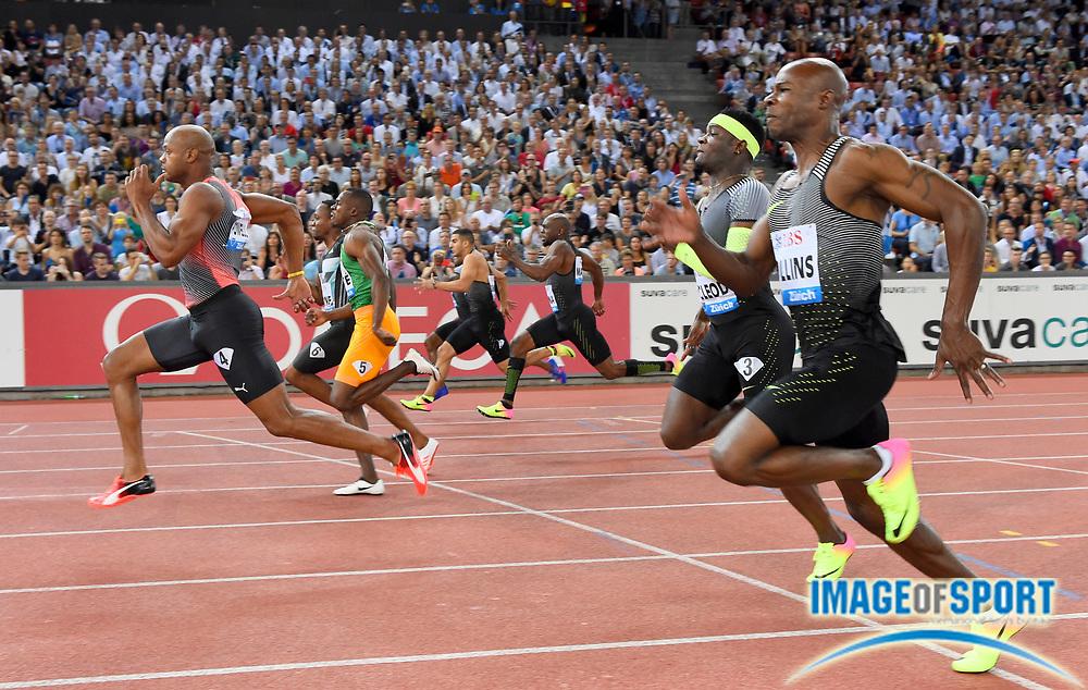 Sep 1, 2015; Zurich, SWITZERLAND; Asafa Powell (JAM) defeats Akanii Simbine (RSA) to win the 100m in 9.94 to 9.99, at the 2016 Weltklasse Zurich during an IAAF Diamond League meeting at Letzigrund Stadium. Photo by Jiro Mochizuki