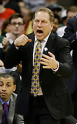 Michigan State head coach Tom Izzo reacts during the second half of a regional semifinal against the Oklahoma in the NCAA men's college basketball tournament  Friday, March 27, 2015, in Syracuse, N.Y. (AP Photo/Heather Ainsworth)