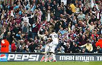 Photo: Chris Ratcliffe.<br /> Middlesbrough v West Ham United. The FA Cup, Semi-Final. 23/04/2006.<br /> Marlon Harewood, Dean Ashton and Hayden Mullins celebrate Harewood scoring for West Ham