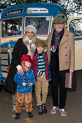 © Licensed to London News Pictures. 05/11/2017. London, UK. CHRIS EVANS with wife NATASHA SISHMAIAN and children NOAH and ELI takes part at the Hyde Park start of the annual Bonhams London To Brighton Veteran Car Run. Photo credit: Ray Tang/LNP