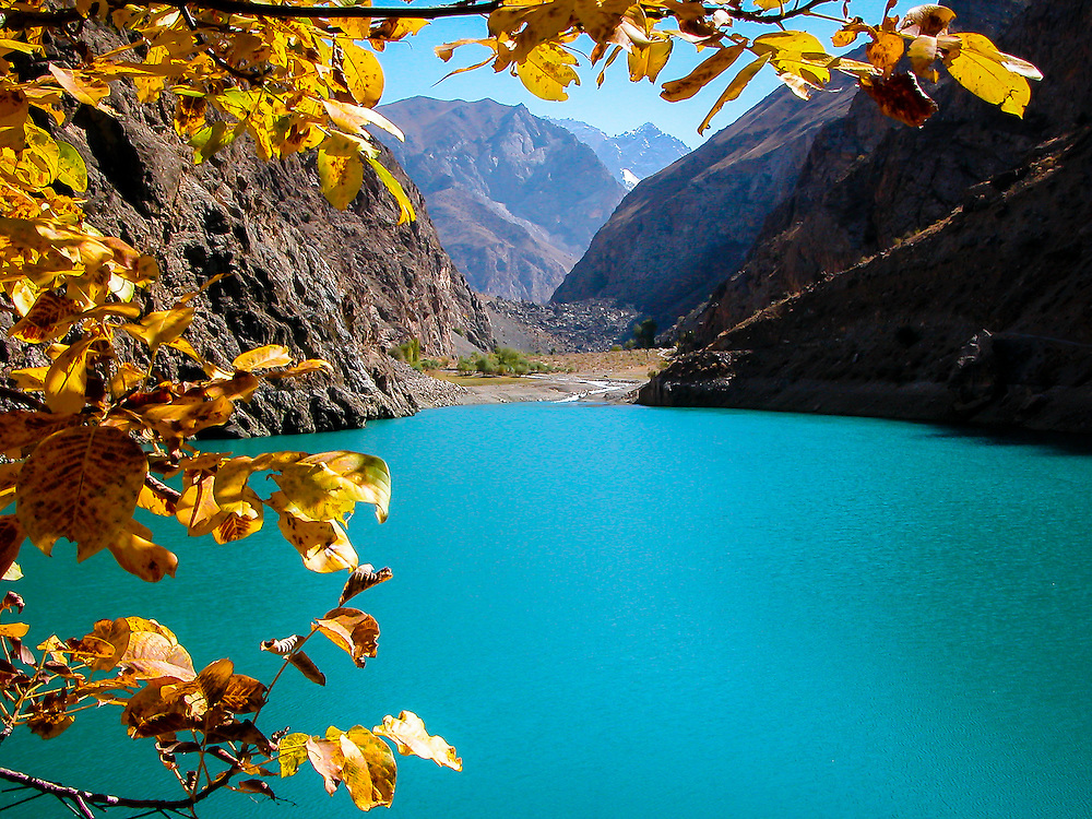 Stock photograph of the second of the Tajik Seven Lakes in fall. The emerald-blue colour of the lake is natural.