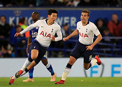 Tottenham Hotspur's Son Heung-min (left) celebrates scoring his side's first goal of the game