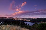 Sunset over San Pablo Reservoir and Briones Regional Park, near Orinda, Contra Costa County, CALIFORNIA