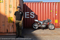 Shinya Kimura with his Crystal Trophy Chabott Engineering custom 1978 / 2018 Yamaha SR at the docks early on setup day for the 27th Annual Mooneyes Yokohama Hot Rod Custom Show 2018. Yokohama, Japan. Saturday, December 1, 2018. Photography ©2018 Michael Lichter.