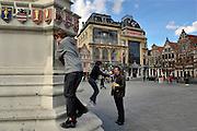 Ghent, Belgium, Mar 11, 2009, Atmosphere at the Vrijdagsmarkt and the statue of Jacob Van Artevelde. PHOTO © Christophe VANDER EECKEN