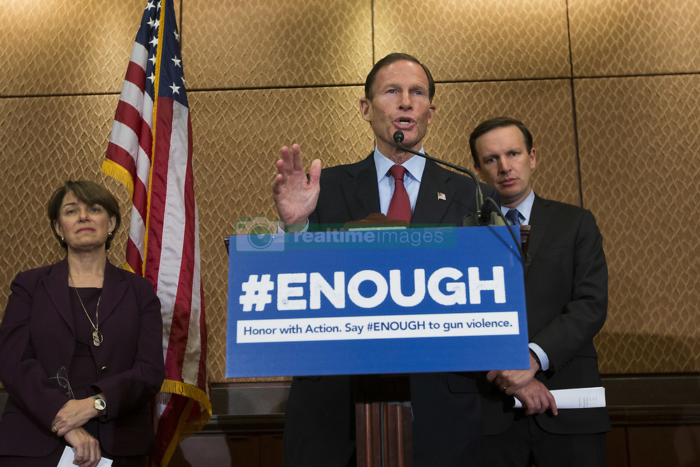 October 3, 2017 - Washington, District Of Columbia, USA - Senator RICHARD BLUMENTHAL (D-CT) speaks during a press conference on gun violence held by Senate Democrats at the United States Capitol. The group of lawmakers demanded new legislation to bring forward gun control measures in response to the mass shooting in Las Vegas. (Credit Image: © Alex Edelman via ZUMA Wire)