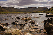 View up the Strathdearn valley, from the River Findhorn.