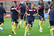 Scunthorpe United Midfielder, Josh Morris (11) and Scunthorpe United Forward, Andy Dales (12) warm up during the EFL Sky Bet League 1 match between Accrington Stanley and Scunthorpe United at the Fraser Eagle Stadium, Accrington, England on 1 September 2018.