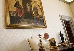 Pope Francis in the private library at the Apostolic Palace on December 17, 2016 the day he turns 80. Photo by ABACAPRESS.COM  | 575580_005 Rome Vatican Vatican (or Holy See)