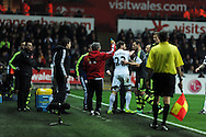 tempers flare up towards end of match as Swansea's Angel Rangel squares up to Stoke's Erik Pieters (3). Barclays Premier league, Swansea city v Stoke city at the Liberty Stadium in Swansea, South Wales on Sunday 10th November 2013. pic by Andrew Orchard, Andrew Orchard sports photography,