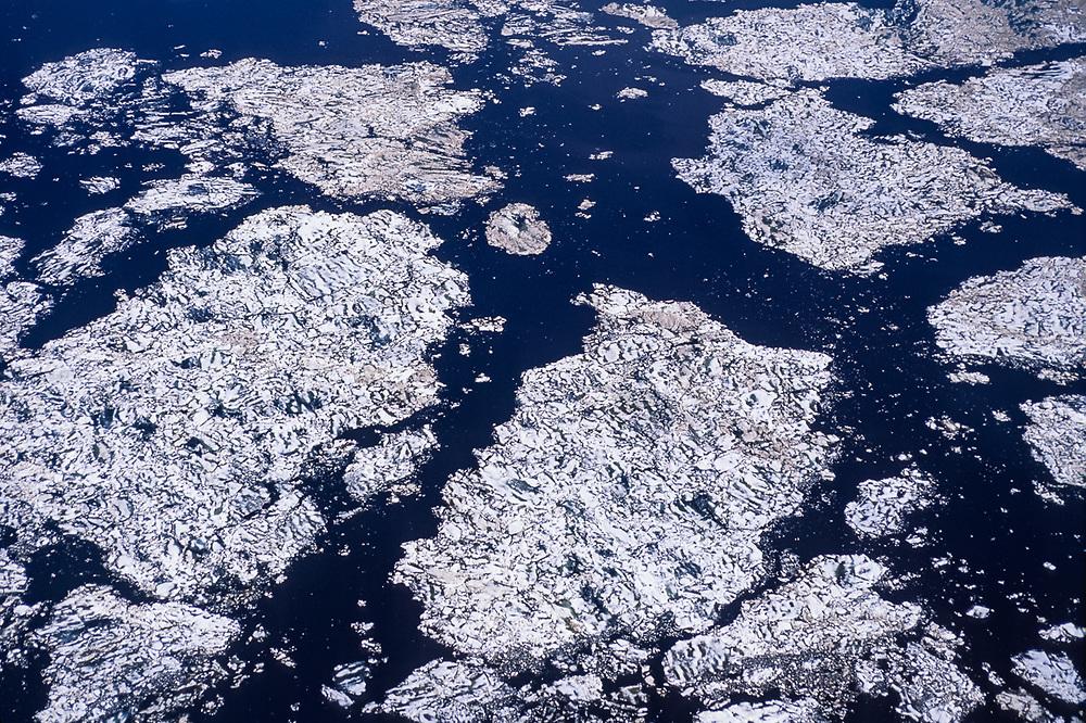 Aerial view, pack ice, late June, Kotzebue Sound, Alaska, USA