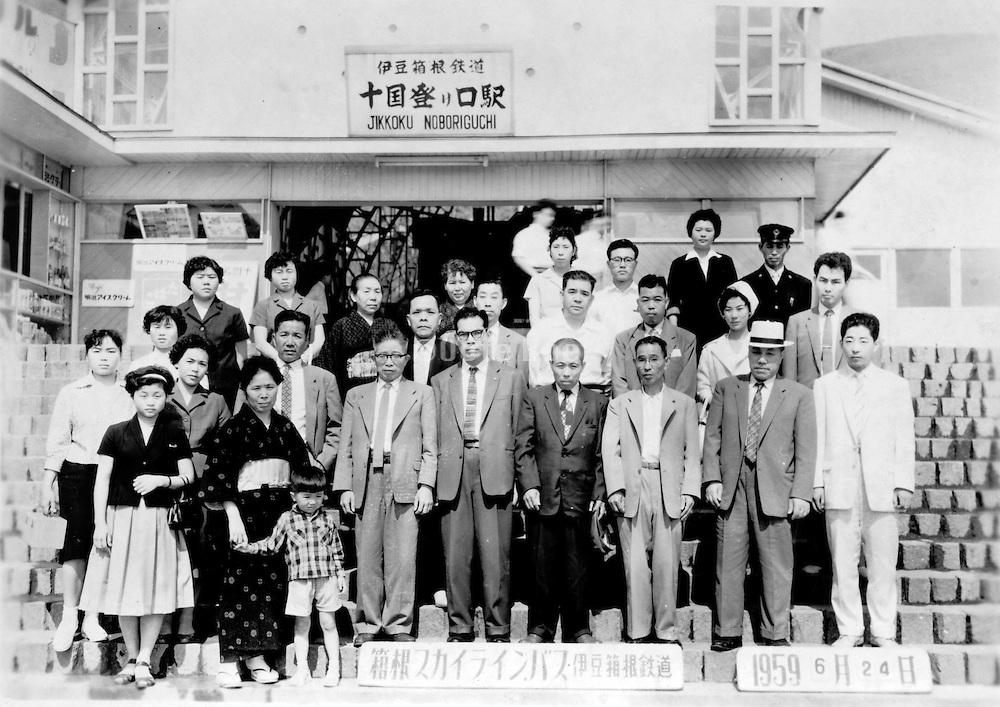 group in front of the Izu Hakone railroad station, jun 24 1959