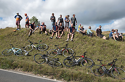 © Licensed to London News Pictures. 08/09/2016. Selsley, Gloucestershire, UK. The Tour of Britain cycle race. Picture spectators waiting at the King of the Mountain section up to Selsley Common. Photo credit : Simon Chapman/LNP