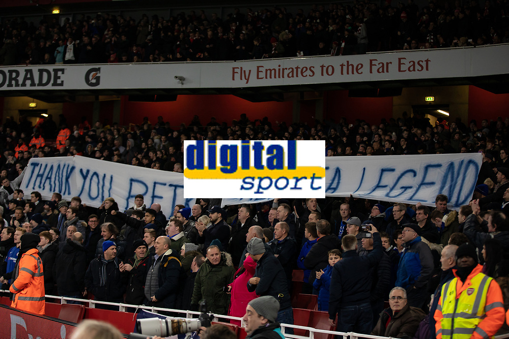 Football - 2018 / 2019 Premier League - Arsenal vs. Chelsea<br /> <br /> Chelsea fans show their appreciation for former goalkeeper Petr Cech (Arsenal FC) after he announced his retirement earlier in the week at The Emirates.<br /> <br /> COLORSPORT/DANIEL BEARHAM