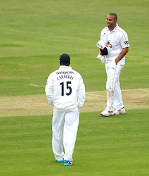 Hampshire's Andre Adams and Hampshire's Michael Carberry - Photo mandatory by-line: Robbie Stephenson/JMP - Mobile: 07966 386802 - 26/04/2015 - SPORT - Cricket - Southampton - The Ageas Bowl - Hampshire v Nottinghamshire - County Championship Division One