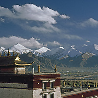 Lhasa, Tibet, People's Republic of China.Sera Monastery overlooks Lhasa before mass influx of Chinese migrants.
