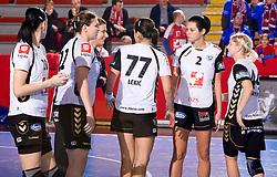 Players of Krim at handball match of Round 5 of Champions League between RK Krim Mercator and Metz Handball, France, on January 9, 2010 in Kodeljevo, Ljubljana, Slovenia. (Photo by Vid Ponikvar / Sportida)