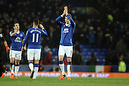 John Stones of Everton  claps to the crowd after the final whistle. Capital one cup semi final 1st leg match, Everton v Manchester city at Goodison Park in Liverpool on Wednesday 6th January 2016.<br /> pic by Chris Stading, Andrew Orchard sports photography.