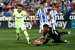 September 26, 2018 - Cuellar of Leganes and Munir of FC Barcelona during the La Liga (Spanish Championship) football match between CD Leganes and FC Barcelona on September 26th, 2018 at Municipal Butarque stadium in Madrid, Spain. (Credit Image: © AFP7 via ZUMA Wire)
