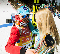 Kamil Stoch of Poland with his girlfriend after the trophy ceremony after the Ski Flying Hill Men's Team Competition at Day 3 of FIS Ski Jumping World Cup Final 2017, on March 25, 2017 in Planica, Slovenia. Photo by Vid Ponikvar / Sportida