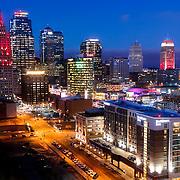 Downtown Kansas City, MO skyline and Crossroads District
