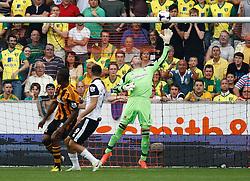 Hull City's Allan McGregor saves from Norwich City's Ricky van Wolfswinkel  - Photo mandatory by-line: Matt Bunn/JMP - Tel: Mobile: 07966 386802 24/08/2013 - SPORT - FOOTBALL - KC Stadium - Hull -  Hull City V Norwich City - Barclays Premier League
