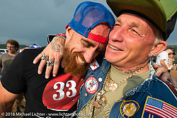 Vintage racers Ebay Jake and Freddie Bolwage at the Spirit of Sturgis antique motorcycle flat track race at the historic Sturgis Half Mile during the 78th annual Sturgis Motorcycle Rally. Sturgis, SD. USA. Monday August 6, 2018. Photography ©2018 Michael Lichter.