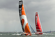Image taken during the in-port race held in Table Bay, Cape Town. This in-port race is the second in the 2014-2015 Volvo Ocean Race. Image by Greg Beadle