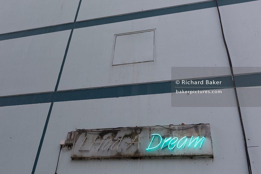 From the famous speech by US civil rights politician Martin Luther King is his inspirational quote 'I Have a Dream' written in neon at the entrance of a youth centre on the Ayeslbury Estate, on 7th December 2017, in Southwark, south London England.